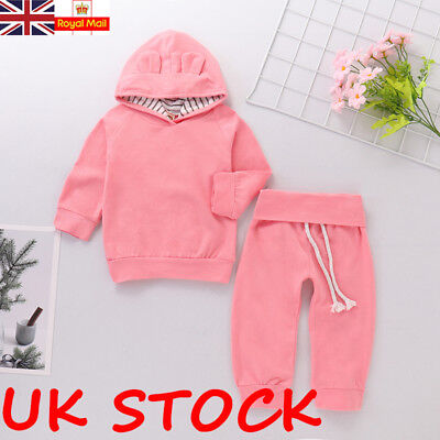 UK Newborn Toddler Baby Girls Winter Outfits Clothes Hoodie Tops+Pants 2PCS Set
