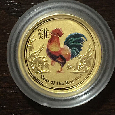 2017 Australia 1/20 oz Gold Lunar Rooster - Colorized - in Capsule