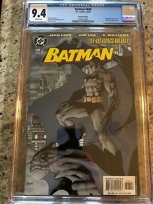 Batman 608 (2002) CGC 9.4 Second Printing Variant! Classic Jim Lee Cover! Hush
