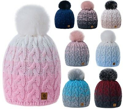 Women Ladies Winter Beanie Hat Multicoloured Hats Knitted Pom Pom Worm Fleece