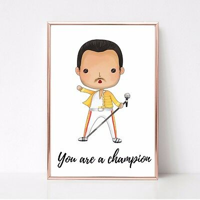 you are a champion freddie mercury queen a4 glossy poster Print  UNFRAMED 23