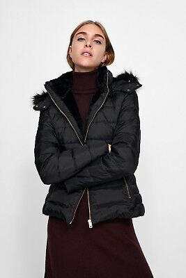 78c0d8a3 NWT ZARA Shiny Black Long Puffer Down Quilted Jacket With Hood Ref ...