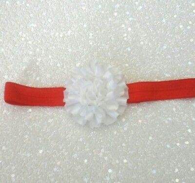 Babies red  Headband with a white ruffled flower 0-6  months