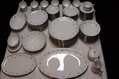"""Noritake China, Mabel (6357) Embossed, Service For 12, """"6 Piece Place Setting"""""""