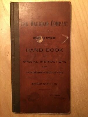 Erie Railroad Company Meadville Division Handbook of Special Instructions 1922
