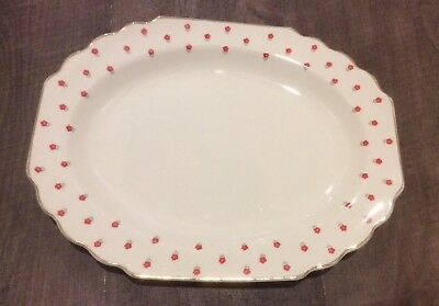 "VTG W.S. George Lido Blushing Rose Dalrymple 13"" Oval Serving Plate Red Daisy"