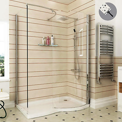 1400x900mm 8mm Curved Walk in Shower Enclosure & Tray R/H Easy Clean Glass Panel