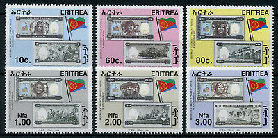 Eritrea 1999 MNH Currency NAKFA Notes 6v Set Flags Banknotes Stamps