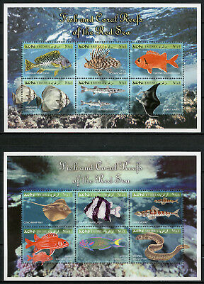 Eritrea 2000 MNH Fish & Coral Reefs of Red Sea 4x 6v M/S Fishes Corals Stamps