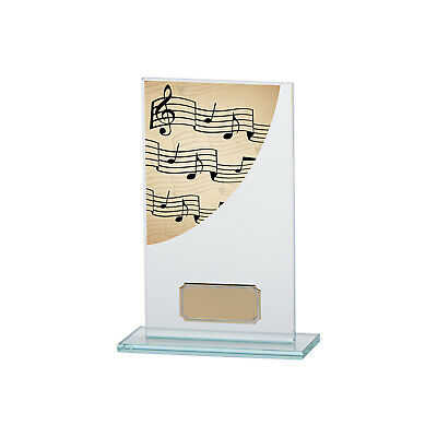 Music Premium Jade Glass Trophies Musical Note Awards 4 sizes FREE Engraving