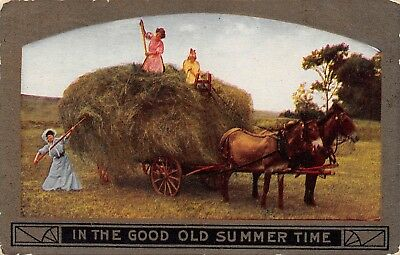 Women Pitching Hay On Mule-Drawn Wagon In The Good Ole Summertime~Early~Pc9361