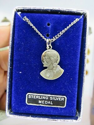 Vintage Sterling Silver SACRED HEART OF JESUS WITH CHAIN Medal Pendant Necklace