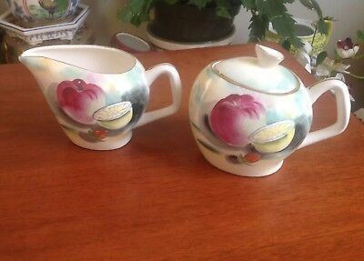 Vintage Hand Painted Japan Sugar and creamer Set Fruit Motif Small