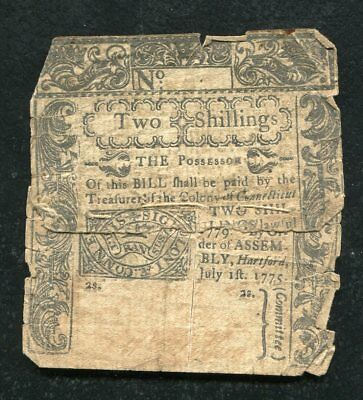 CT-188 JULY 1, 1775 2s TWO SHILLINGS CONNECTICUT COLONIAL CURRENCY NOTE