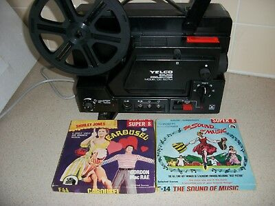 Yelco 8mm super sound projector model DS-607M ,Manual +2 400ft sound films