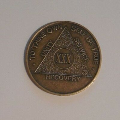aa alcoholics anonymous bronze 30 year recovery sobriety coin chip token