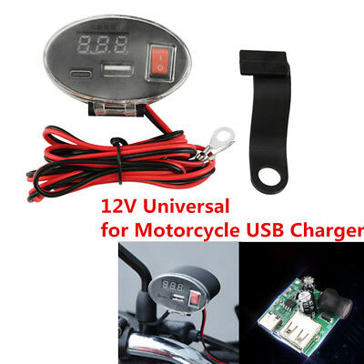 12V Waterproof USB Motorcycle Handlebar Charger Socket w/ Switch & Mounts Latest