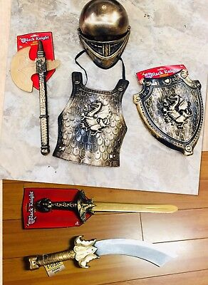 6 pc SET Gold Medieval Knight Costume Boy Halloween Armor Shield Sword  Helmet