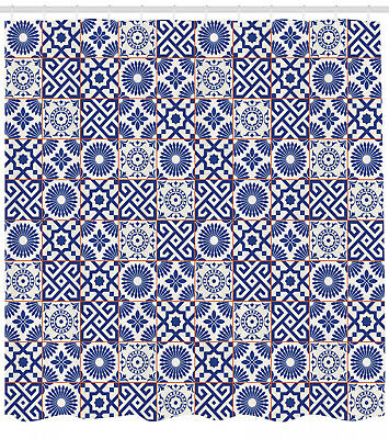 Moroccan Shower Curtain Old Retro Artful Tiles Print for Bathroom