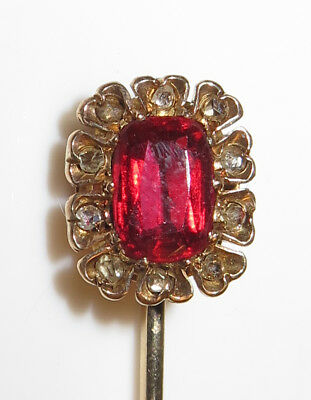 Vintage Antique Victorian Lovely 14K Gold  Diamond and Ruby Ladies Stick Pin
