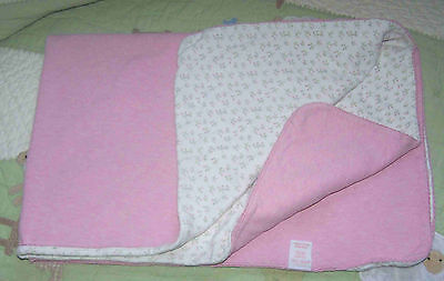 Amy Coe Cotton Reversible White & Pink Rose Buds Flowers Baby Girl Blanket EUC