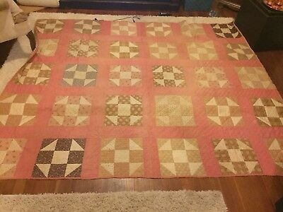 French antique large hand quilted quilt c.1900 clean good condition