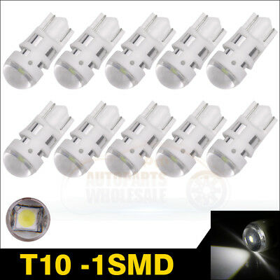 10pcs T10 3030 1SMD White W5W 2825 Wedge LED Interior License Plate Dome Light