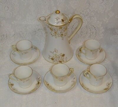 Vintage Nippon Morimura Hand Painted Chocolate / Tea Pot w/ Five Cups & Saucers