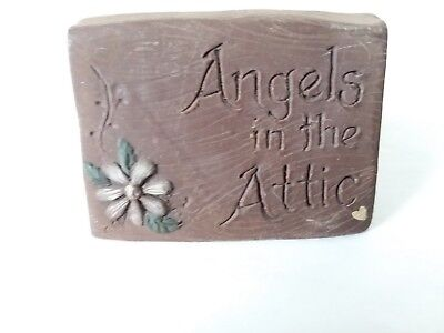 Sarah's Attic Angels in the Attic Desk Table Sign Plate Flower 1990 Decor