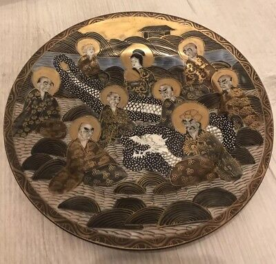 Antique Japanese Meiji Period Satsuma Shimazu Thousand Faces Immortals Plate