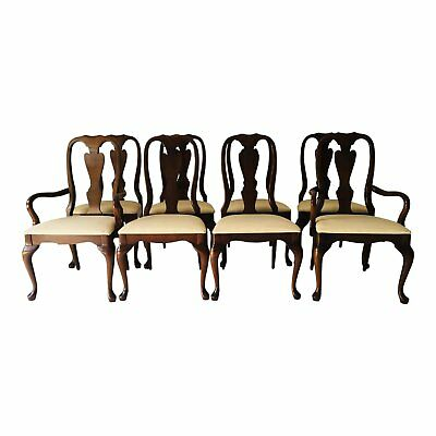 Vintage Set of 8 Queen Ann Mahogany Dining Chairs