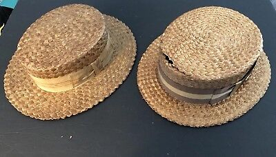 ANTIQUE LOT OF TWO 1920's STRAW SKIMMER BOATER MEN'S HATS