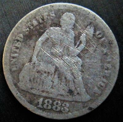 1883 Seated Liberty Dime Low Mintage US 90% Silver 10c P Mint Value Coin Lot G