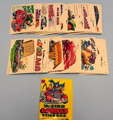 Weird Wheels Stickers Vintage Trading Card Set 55 Cards + wrapper Topps 1980