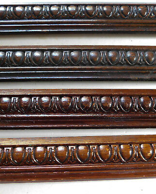 4 ANTIQUE VINTAGE Carved Wood Moldings Furniture Salvage Trim Shell Heart