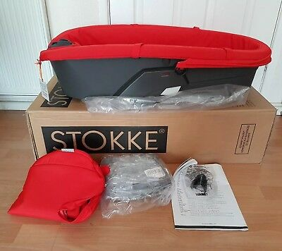 Brand New Stokke Xplory V3 Red Bassinet / Carry Cot With Apron And Rain Cover