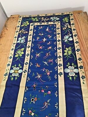 Vintage Silk Asain Hanging Hand embroidered Butterfly and Bird motif Art Textile