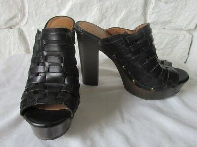 21212a33f4be GIANNI BINI BLACK Leather STuDDeD Woven Platform Heels Shoe SIZE US ...