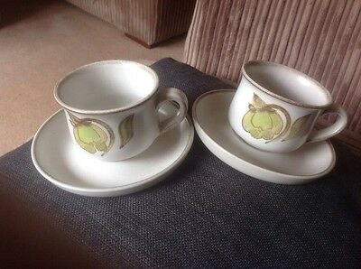 denby troubadour.Stoneware.Cup And Saucer. Perfect X4. Coffee.tea Vintage 1970s