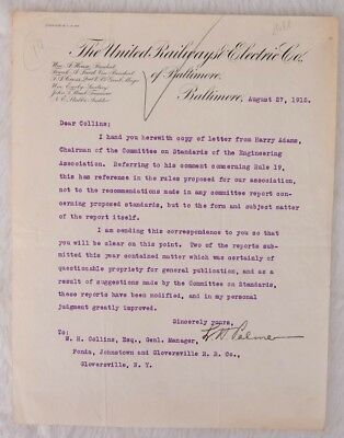 The United Railways & Electric Company-Correspondence from L.H. Palmer 1915