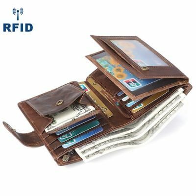 RFID Blocking Mens Trifold Wallet Genuine Leather ID Bill Coin Holder Card Case