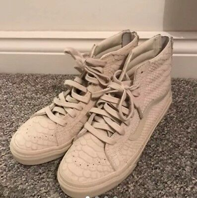 Cream Snake Print High Top Vans Size 6 Good Condition USED