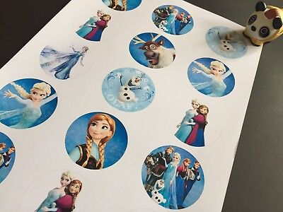 15x round Frozen sticker decal party supplies invitation card party bag fillers