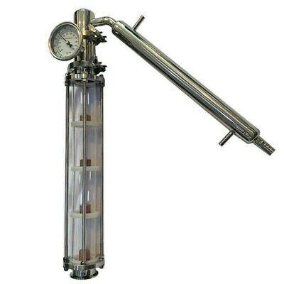 "Alcohol Distiller Bubble Plate Reflux Column & Condenser, Fits 2"" Tri Clamps Keg"