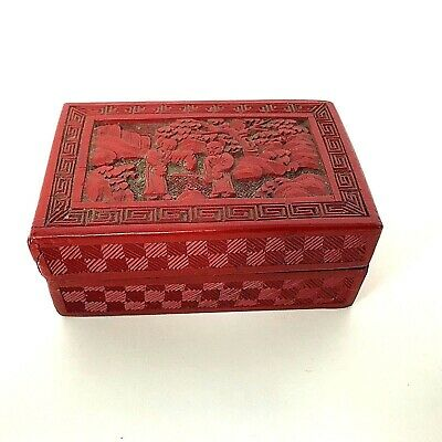 Antique Vintage Chinese Carved Cinnabar Box