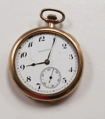 Hamilton 17 Jewel Pocket Watch  10K Gold Filled For Parts As Is