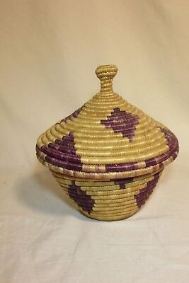 Coil Basket With Lid Handmade Tan & Purple