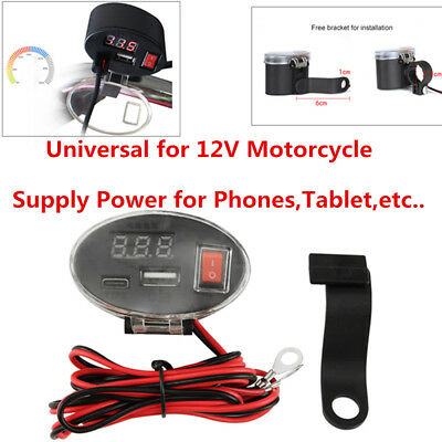 12V Waterproof USB Motorcycle Handlebar Charger Socket w/ Switch & Mounts Grade