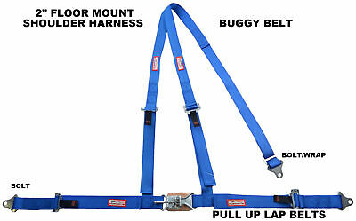 Off Road 3 Point Seat Belt Harness Y Floor Mount Latch & Link Buckle Bolt Blue
