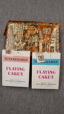 TUTANKHAMEN Egyptian Playing Cards Set of 2 in Beautiful Gold Etched Tan Case